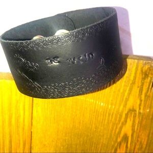 """Hand-tooled black leather """"be wild"""" cuff bracelet"""